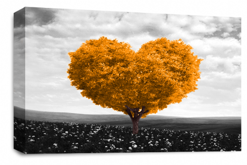 Love Heart Wall Art Picture Floral Tree Orange White Grey Print